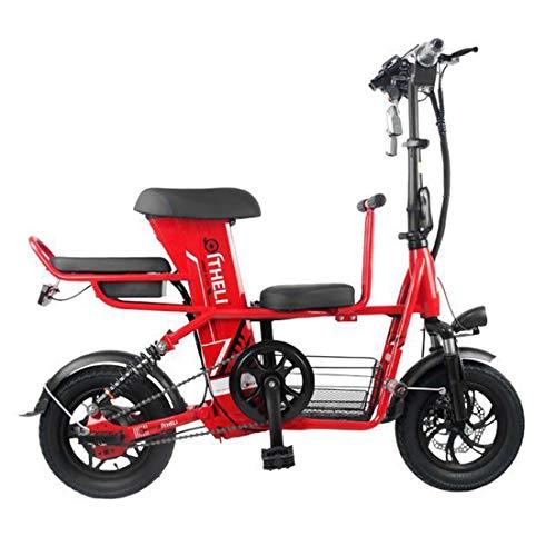 Takmeway Scooter Elettrico Bici Padre-Figlio 3 Posto 2 Ruote Scooter Elettrico 400W 48V 20A Viaggi Bici elettrica della Bicicletta,Rosso