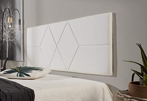 ECCOX - Cabecero de Cama Dos Rombos en Polipiel - Cabezal Tapizado en Polipiel con Acolchado de Espuma y Refuerzo Trasero - Color Blanco - 152 cm para Camas de 135 cm