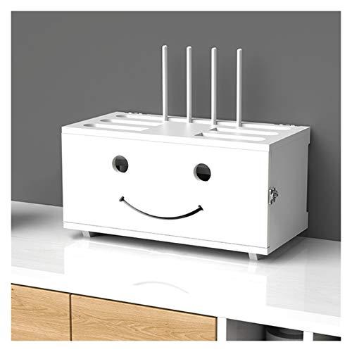 LJJOO Hogar y Office WiFi Router Cable Box, Soporte de caja de almacenamiento de enrutador de madera blanco, protector de sobretensiones de tira de potencia ajustable, contenedor de gestión de cable,