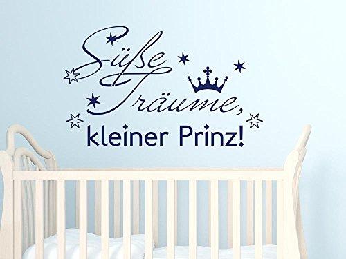 GRAZDesign Sprüche Zur Geburt Wandtattoo Schlafen/Sterne Krone - Babybett Aufkleber Süße Träume Kleiner Prinz - Wandtattoo Babyzimmer / 66x40cm / 049 königsblau