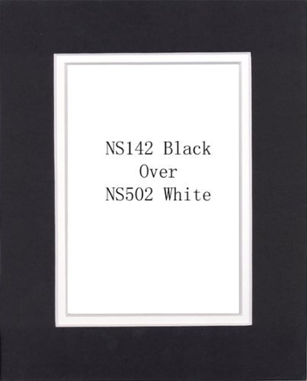 Pack of 32 8x10 Black White Double Mats Mattes with White Core Bevel Cut for 5x7 Photo + Backing + Bags