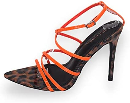 Cape Robbin Ada Women's Super Strappy Pointy Open Toe Ankle Strap Stiletto Heeled Sandals