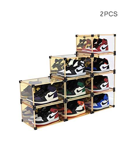 Mplerven - Caja de almacenamiento apilable para zapatos de hombre y mujer, con rodamientos de 200 libras, 2 piezas (dorado)