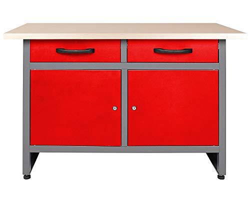 Ondis24 Montagewerkbank Werkstatteinrichtung Werkbank 120cm Werktisch rot mit 2 kugelgelagerten Schubladen & 2 abschließbaren Türen, TÜV geprüft