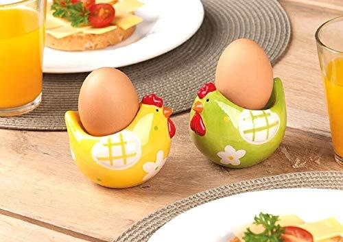 Huhn Eierbecher-Set aus Keramik - 4 Stück handbemalte Eierhalter als Hühnerfigur - ideal als Geschenkidee zu Ostern oder als farbenfrohe Osterdekoration und Tischdeko, 2x Grün, 2x Gelb