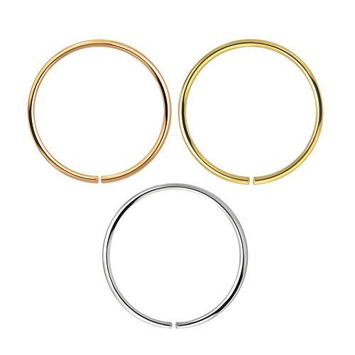 3 Stück Box-Set 9K Solid Gold 22 Gauge (0,6 MM) - offene Hoop Nase Ring Piercing