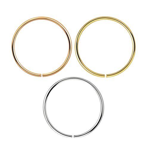 AZARIO LONDON 3 Piece Box Set 9K Solid Gold 22 Gauge (0.6MM) - Open Hoop Nose Ring Piercing
