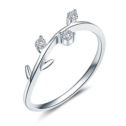 Daesar Anillos de Oro Blanco 18K Mujer,Anillos Mujer Plata Rama de Hojas Diamante Blanco 0.07ct Anillo Talla 28