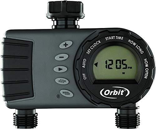 Orbit 96782 S&M Programador de Grifo Digital Pantalla LCD- 2 Salidas-Hembra ¾ ¾, Gris/Negro, 5.5 x 23.5 x 24.5 cm