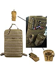 DECHO-C Tactical Molle organizer na przednie siedzenie z butelką, latarką, worek do recyklingu, organizer na tylne siedzenie, uniwersalny rozmiar, wielokolorowy (czarny/beżowy/zielony)