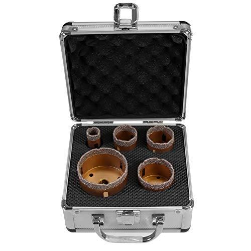 Spezial Diamantbohrkronen Set Gold für Winkelschleifer Aufnahme M14 Fliesenbohrkrone Durchmesser: 20mm, 35mm, 40mm, 50mm und 68mm, Fliesenbohrer für beste Ergebnisse
