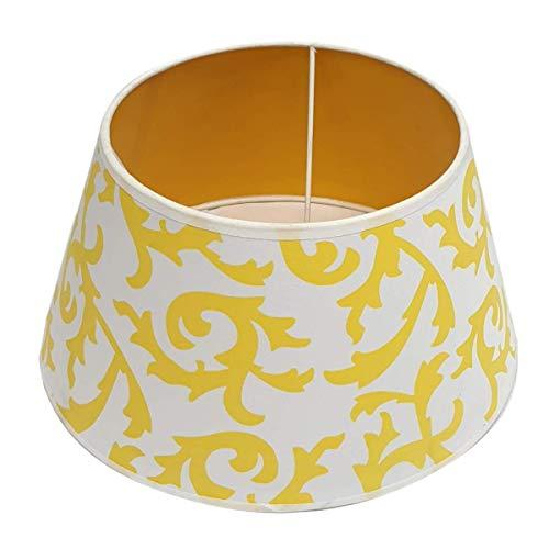 Lampenschirm Weiß Gelb Rund E27 für Tischlampe Stehlampe Ø 30 cm