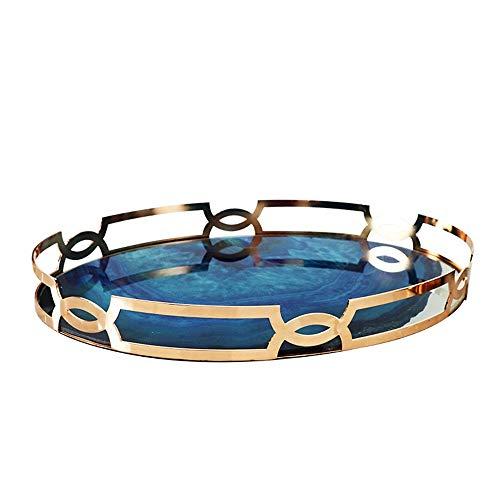 YoLiy Lagertablett Dekorative Tablett Gold Metal Schmuck Vanity Parfüm Kosmetik Make-up Organizer-Tabellen-Behälter Schreibtisch Tischdekor-Geschenk Anzeige Dekoration (Color : Gold, Size : 45x5cm)