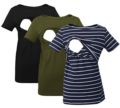 Smallshow Women's Nursing Top Striped Short Sleeve Breastfeeding Comfy T-Shirt 3-Pack Black/Army Green/Navy Stripe Medium