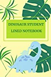 Dinosaur Student Lined Notebook: Cute Cartoon Saurus With Baby In The Jungle