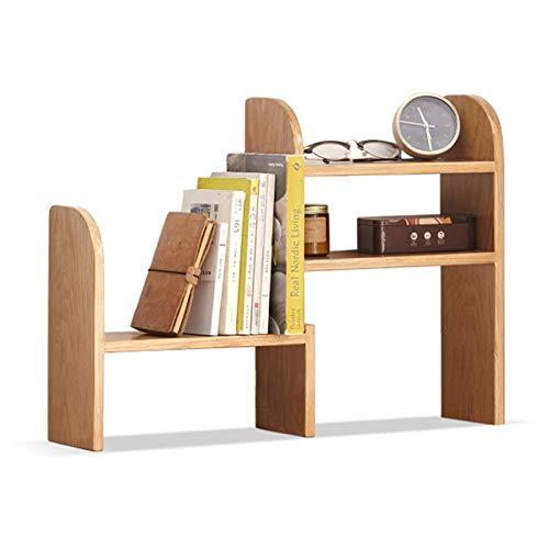 Estante para Libros Estantería de Escritorio de Roble Natural Organizador de Escritorio expandible Mesa de estantería, Estante de extensión de Libro Ajustable para Oficina y hogar Librero