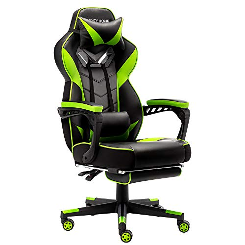 Bonzy Home Gaming Chair Computer Office Chair Ergonomic Desk Chair with Footrest Racing Executive Swivel Chair Adjustable Rolling Task Chair (Black&Bright Green) Categories