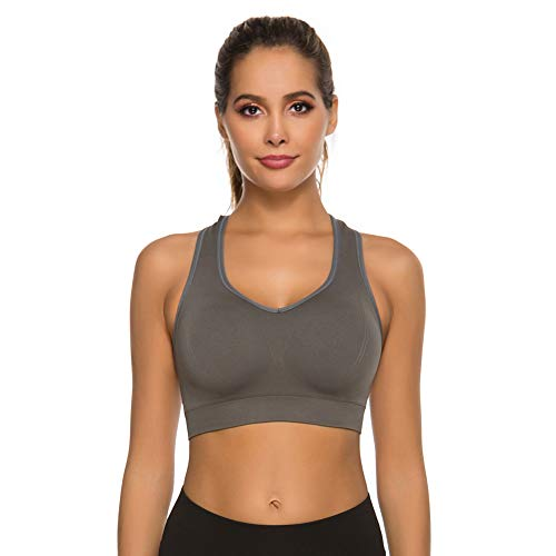 JOJOANS Sport BH Damen Racerback Medium Impact Sport BH Bustier Push Up Sports BH Fitness Jogging Yoga Workout Sport(Grau, M)