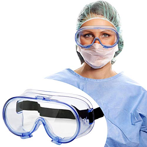 Safety Goggles FDA Registered, Anti-Fog Safety Glasses Eye Protection, Medical Goggles Fit Over Eyeglasses, Unisex Ultra Clear Protective Glasses Protective Eyewear, Lab Goggles Medical Protection
