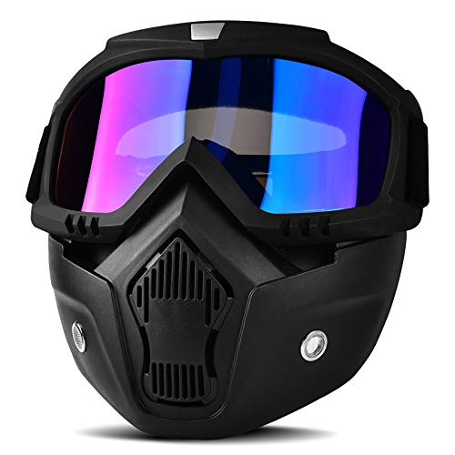 BOLLFO Motorcycle Goggles Mask Detachable Face Mask for CS Paintball Airsoft Skiing Riding Cycling