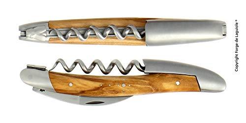 Forge de Laguiole Cuchillo sumiller de tres piezas, madera de olivo, acabado mate