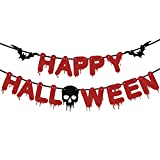 EAMBRITE Happy Halloween Banner Scary Blood Drop Banner for Horror Vampire Zombie Themed Halloween Party Decorations