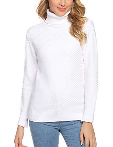 Aibrou Suéter Suave para Mujer, Jersey de Cuello Alto con Cuello Redondo y Manga Larga elástica y Liviana con Textura de Rayas oblicuas