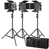 Neewer Kit de 3 Luces Video 660 LED Iluminación Fotografía con Soporte: Regulable...