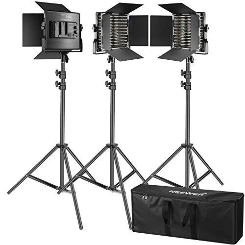 Neewer Kit de 3 Luces Video 660 LED Iluminación Fotografía con Soporte: Regulable 3200-5600K CRI96 + Panel LED, 200cm Soporte Luz de Calidad Prima para Estudio Youtube Video