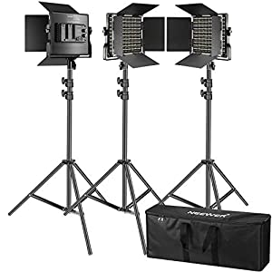 Neewer Kit de 3 Luces Video 660 LED Iluminación Fotografía con Soporte: Regulable 3200-5600K CRI96 + Panel LED, 200cm Soporte Luz de Calidad Prima para Estudio Youtube Video
