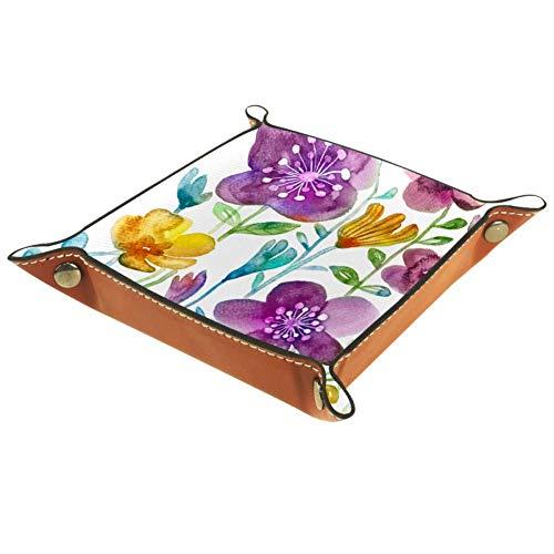 Asdqwe - Bandeja de piel para mujer, diseño de flores, diseño de hebilla de broche