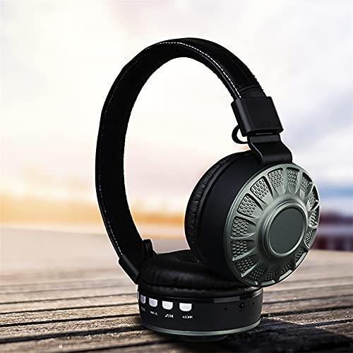 XJPB Auriculares de Bluetooth inalámbrico de reducción de Ruido Activo con micrófono Auriculares Auriculares Auriculares Auriculares para PC móvil,Verde