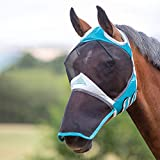 Shires Fine Mesh Fly Mask with Ear Holes & Nose - Teal Full