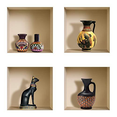 DIY Pegatinas Etiquetas para Pared Desmontables de Vinilo 3D Arte Mágico de Nisha, Conjunto de 4, Lanzadores egipcios y africanos