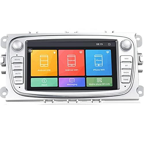 Autoradio Android 9.0 da 7' nel cruscotto Lettore stereo per auto Unità principale Navigazione GPS WIFI Bluetooth Ricevitore FM Dual USB per Ford Focus Mondeo C-MAX S-MAX Galaxy II Kuga (Argento)