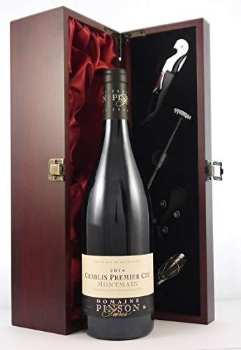 Chablis 1er Cru Montmains 2014 Domaine Pinson en una caja de regalo forrada de seda con cuatro accesorios de vino, 1 x 750ml