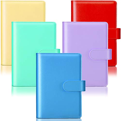 5 Pieces A6 PU Leather Notebook Binder Refillable 6 Rings Binder Cover Loose Leaf Personal Planner with Magnetic Buckle Closure (Red, Blue, Yellow, Green, Purple)