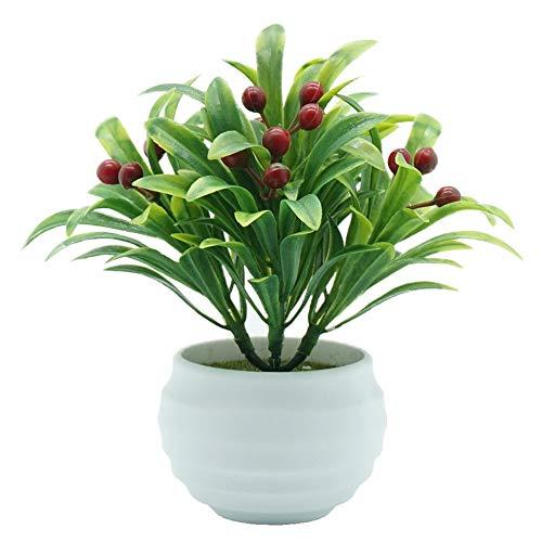 XdiseD9Xsmao kunstmatige bonsai-bloem, in vaas, voor woonkamer, tuin, bruiloft, werkkamer, bureau, meubel Rood