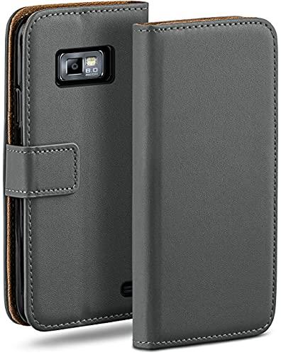 moex Klapphülle kompatibel mit Samsung Galaxy S2 / S2 Plus Hülle klappbar, Handyhülle mit Kartenfach, 360 Grad Flip Hülle, Vegan Leder Handytasche, Dunkelgrau