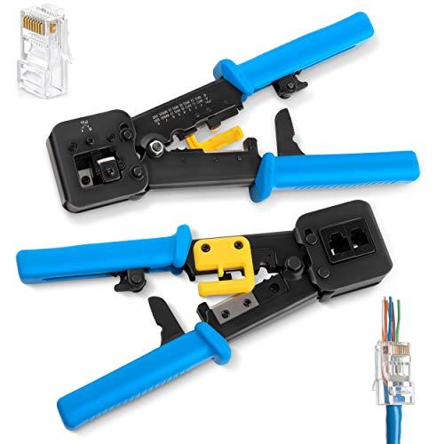 RJ45 Crimp Tool for Pass Through Connector End   EZ Cut, Strip, & Crimp Electrical Cable   Heavy Duty Crimper for RJ11 & RJ45 Plugs   Professional Networking Cat5/5e & Cat6, Tools & Accessories