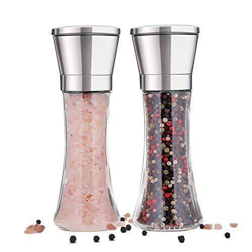Aayga pepermolen en zoutmolen, handmatig, set met 2 kruidenmolen, korrel, verstelbaar, peperstrooier en zoutmolen, zout- en pepermolen van glas en geborsteld staal met geïntegreerde keramiek