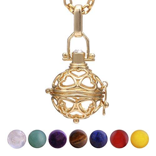 Morella Damen Halskette 70 cm Edelstahl Gold mit Anhänger Herzen und 7 Edelsteinen Chakren-Kugeln in Schmuckbeutel