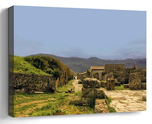 Wall Art Canvas Print Photo Artwork Home Decor (24x16 inches)- Pompeii Italy Architecture Landmark City ANC