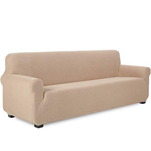 TIANSHU Funda de sofá 4 plazas Tejido Jacquard de poliéster y Elastano Fundas de sofá Suaves duraderas(4 plazas,Arena )