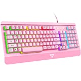 VictSing Gaming Keyboard, LED Backlit Wired Keyboard with Ergonomic Wrist Rest, Quiet Click USB Keyboard for PC/Mac Game, Office Typing, Pink