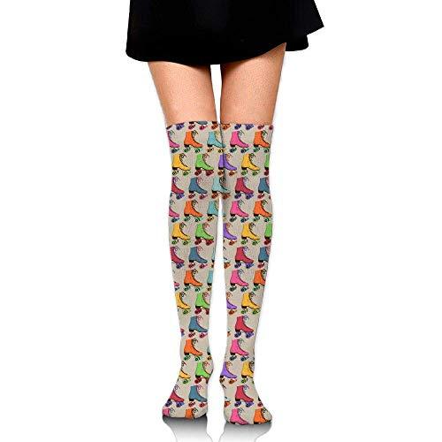 Fedso Hohe Elastizität Mädchen Baumwolle Kniestrümpfe Uniform bunte Rollschuhe Damen Tube Socken