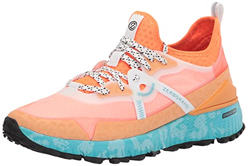 Cole Haan Women's Zerogrand OVERTAKE All Terrain Runner Water Resistant Running Shoe, Pumpkin/Shocking Orange/Capri with White Print, 8