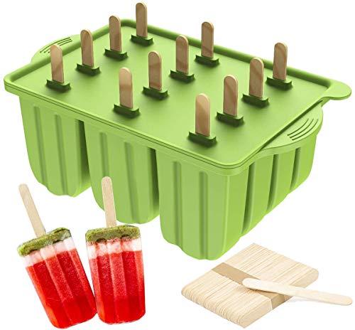 Molde para Helados y Polos, Silicona Alimentaria, 12 Rejillas con Tapa, con 50 Palitos de Madera (Verde)