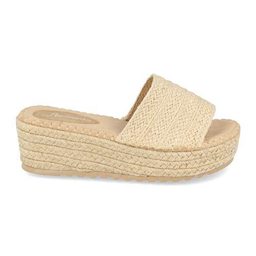 Sandalia de Pala Forrada de Yute para Mujer. Sandalias Estilo Casual-Chic con Plataforma. Ideales para Primavera-Verano.