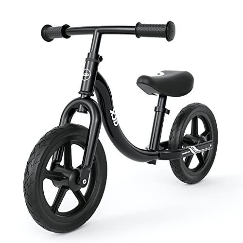 XJD Kids Balance Bike Beginner Toddler Bike No Pedal Bicycle for Girls Boys Ages 18 Months to 5 Years Old Lightweight Toddler Training Push Bike Adjustable Seat Handlebar Air-Free Tires, Black